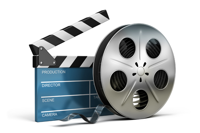 cinema clapper and film