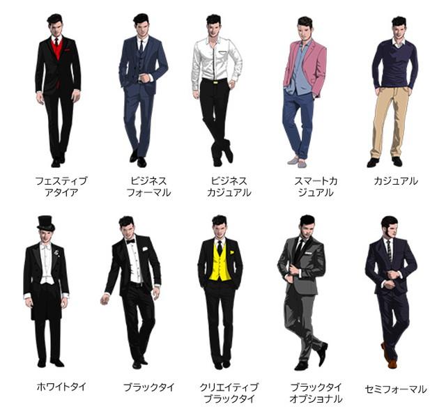男性のドレスコード一覧